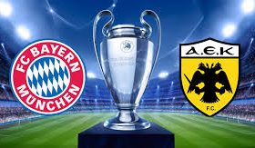 Bayern Munich welcomes AEK Athens in a match from Group E of the UEFA Champions League